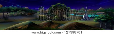African Savannah in a summer night with big tree and oasis lake on background.