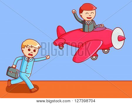 Business man leaving his partner .EPS10 editable vector illustration design