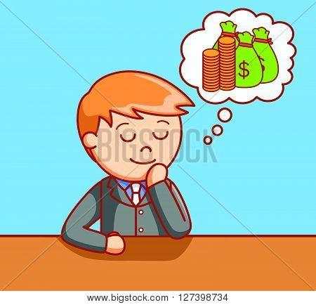 Business man wondering money .EPS10 editable vector illustration design