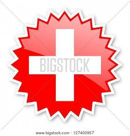 plus red tag, sticker, label, star, stamp, banner, advertising, badge, emblem, web icon