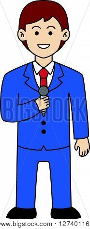 Newscaster doodle cartoon design illustration .Eps 10 editable vector Illustration design