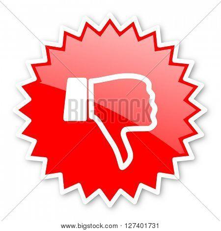 dislike red tag, sticker, label, star, stamp, banner, advertising, badge, emblem, web icon