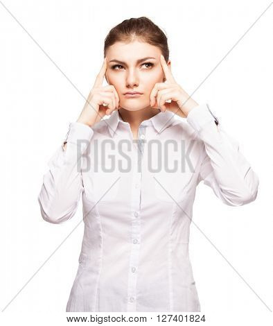Woman at white background looking away. Young thinking female isolated