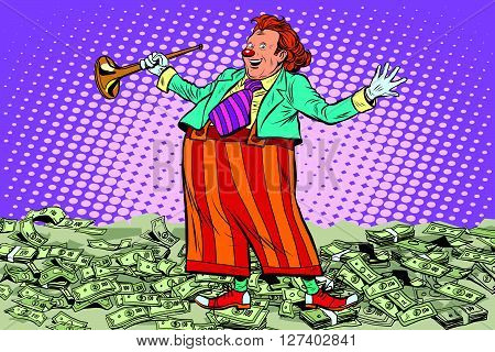 Business concept money clown joke pop art retro style. Cash drawing. Lottery