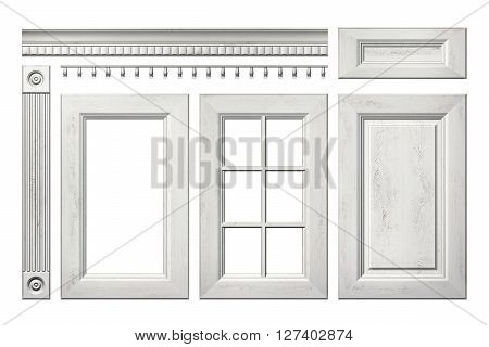 Front collection of old wooden door drawer column cornice for kitchen cabinet isolated on white