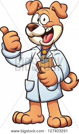 Dog doctor wearing a medical gown. Vector clip art cartoon illustration with simple gradients. All in a single layer.
