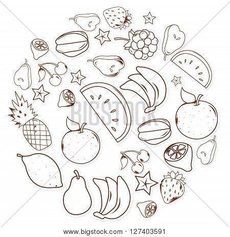 Fruits and vegetables .eps10 editable vector illustration design