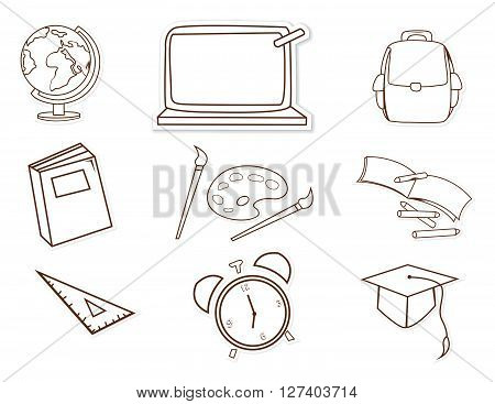 School Facility Object Hand Drawn Sketch Doodle .eps10 editable vector illustration design