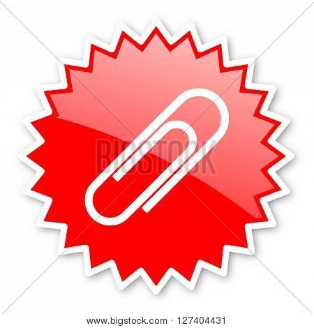 paperclip red tag, sticker, label, star, stamp, banner, advertising, badge, emblem, web icon
