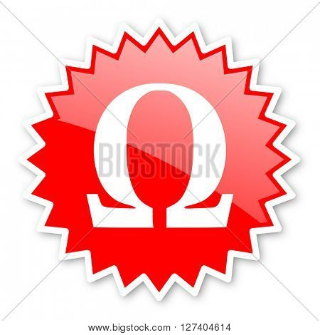 omega red tag, sticker, label, star, stamp, banner, advertising, badge, emblem, web icon