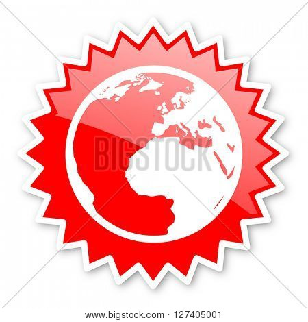 earth red tag, sticker, label, star, stamp, banner, advertising, badge, emblem, web icon