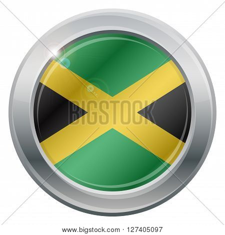 A Jamaica flag silver icon isolated on a white background