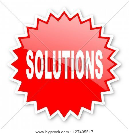 solutions red tag, sticker, label, star, stamp, banner, advertising, badge, emblem, web icon