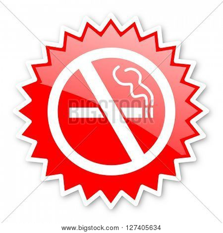 no smoking red tag, sticker, label, star, stamp, banner, advertising, badge, emblem, web icon