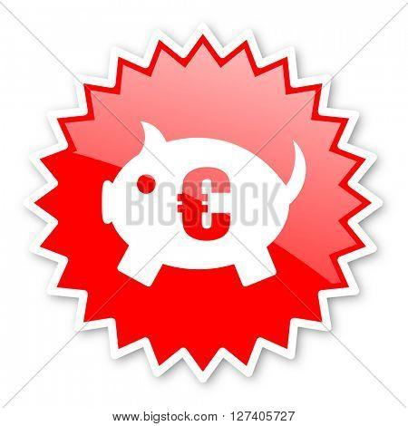 piggy bank red tag, sticker, label, star, stamp, banner, advertising, badge, emblem, web icon