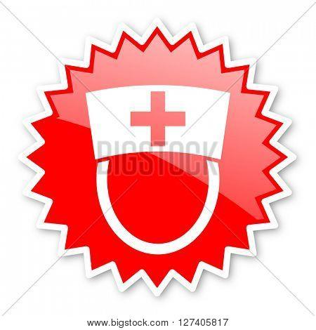 nurse red tag, sticker, label, star, stamp, banner, advertising, badge, emblem, web icon