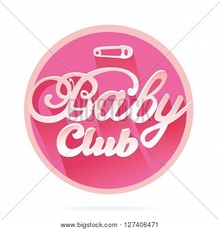 Vector Baby Club Title for Girl in Pink Colors in Circle Frame