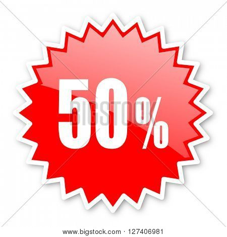50 percent red tag, sticker, label, star, stamp, banner, advertising, badge, emblem, web icon