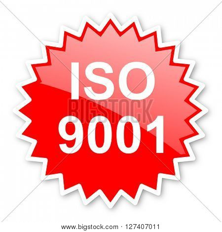 iso 9001 red tag, sticker, label, star, stamp, banner, advertising, badge, emblem, web icon