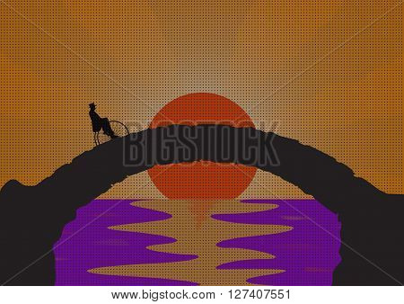 A retro picture of a gentleman riding a penny farthing on a stone bridge with an ocean sunset background