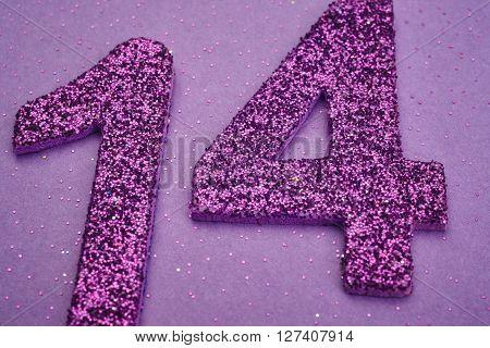 Number fourteen purple color over a purple background. Anniversary. Horizontal