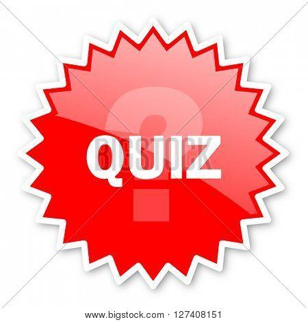 quiz red tag, sticker, label, star, stamp, banner, advertising, badge, emblem, web icon