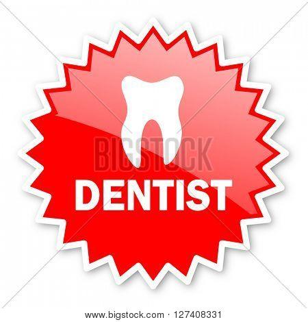 dentist red tag, sticker, label, star, stamp, banner, advertising, badge, emblem, web icon
