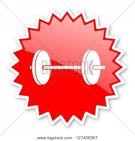 fitness red tag, sticker, label, star, stamp, banner, advertising, badge, emblem, web icon