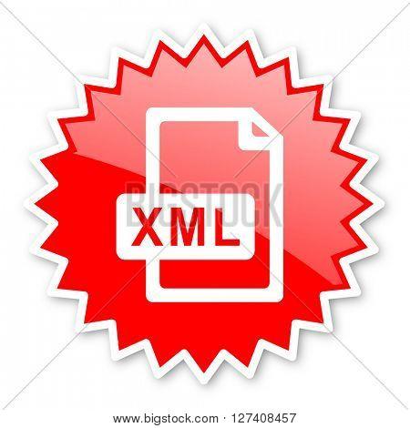xml file red tag, sticker, label, star, stamp, banner, advertising, badge, emblem, web icon