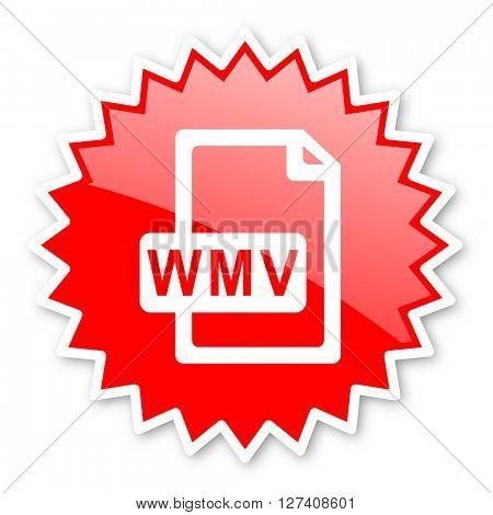 wmv file red tag, sticker, label, star, stamp, banner, advertising, badge, emblem, web icon