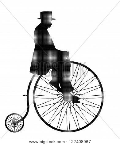 A retro penny farthing gentleman silhouette isolated on a white background