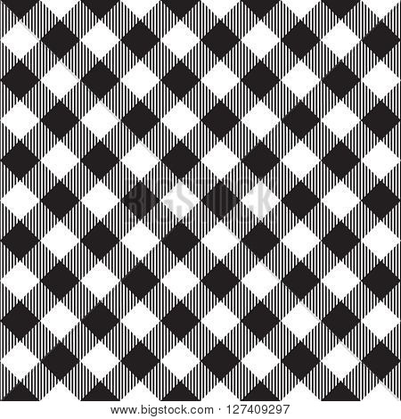 Black tablecloth diagonal seamless pattern. Vector illustration of traditional gingham dining cloth with fabric texture. Checkered picnic cooking tablecloth.