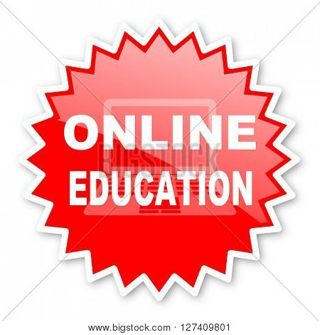 online education red tag, sticker, label, star, stamp, banner, advertising, badge, emblem, web icon