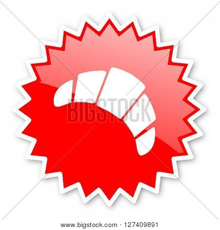 croissant red tag, sticker, label, star, stamp, banner, advertising, badge, emblem, web icon