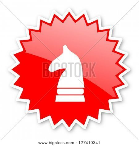 chess horse red tag, sticker, label, star, stamp, banner, advertising, badge, emblem, web icon