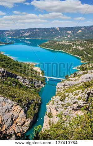 The largest alpine canyon Verdon spring. Emerald  river is flowing at the bottom of the gorge