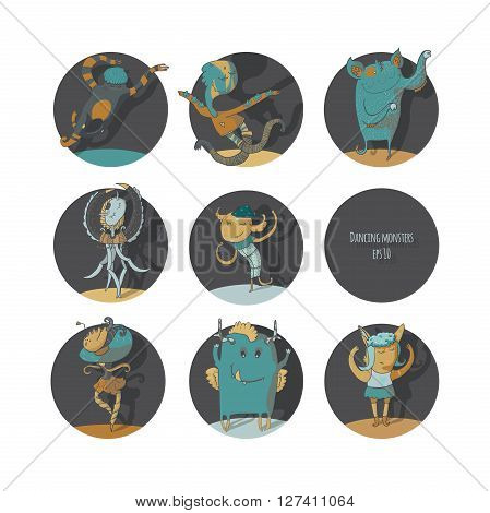 Set of cute dancing monsters vector color illustration each creature in a circle isolated on white background fun with moving hands legs. Icons perfect for ballet school or studio dance studio.