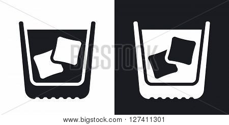 Glass of whiskey with ice stock vector. Two-tone version on black and white background