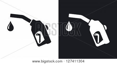 Gun for fuel pump with a drop of fuel vector icon. Two-tone version on black and white background
