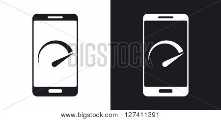 Vector speed test smartphone icon. Two-tone version on black and white background