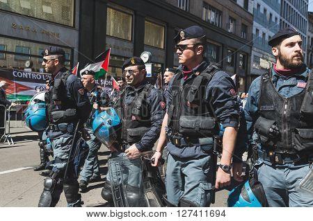 Police At Liberation Day Parade In Milan, Italy