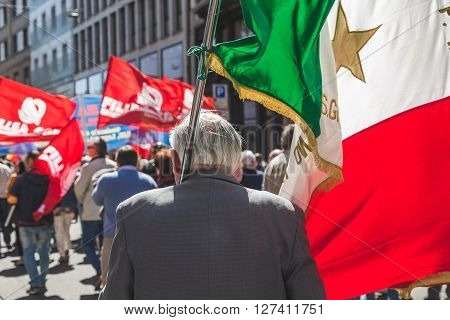 People Take Part In The Liberation Day Parade In Milan, Italy