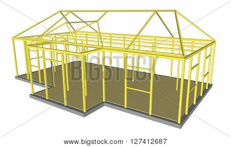 Vector 3d illustration Construction Process tools and materials building crane excavator bulldozer tractor sand stone cement 1