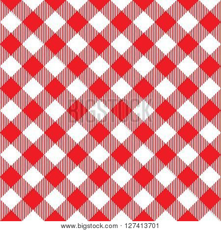 Red tablecloth diagonal seamless pattern. Vector illustration of traditional gingham dining cloth with fabric texture. Checkered picnic cooking tablecloth.