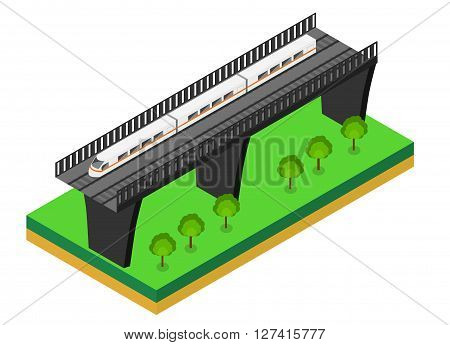 Fast Train. Vector isometric illustration of a Fast Train. Vehicles designed to carry large numbers of passengers. Isolated vector of modern high speed train. isometric train on a railway bridge