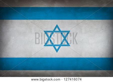 Israeli flag painted on the wall. Israeli flag background