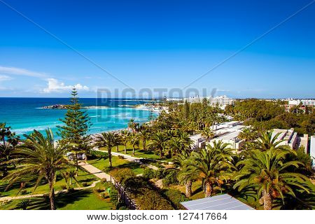 Cyprus coastline view, turquoise sea, white beaches