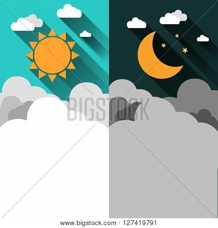 Sun moon stars and clouds banner. Day and night time concept vector banner. Sunny Day flyer. Star Moon Night flyer. Weather background. Forecast concept banner. Daytime poster. Day and Night layout