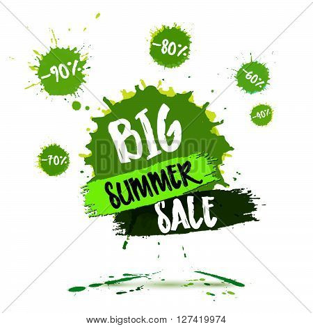 Summer Sale Badge, Summer Sale Label, Summer Sale Banner. Vector Watercolor Banner With Ink Splashes