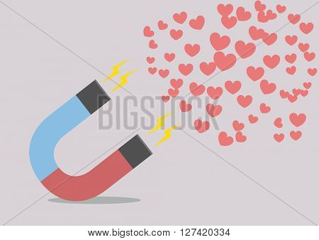 minimalistic illustration of a red and blue horseshoe magnet attracting hearts, eps10 vector